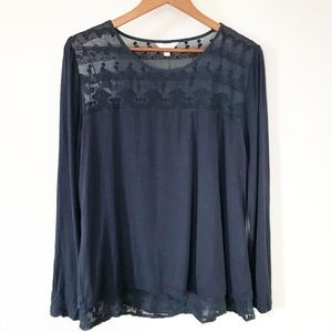 Adiva Navy Lace Split Back Boho Embroidered Top